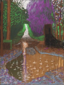 """THE ARRIVAL OF SPRING IN WOLDGATE, EAST YORKSHIRE IN 2011 (TWENTY ELEVEN) - 18 DECEMBER"" IPAD DRAWING PRINTED ON FOUR SHEETS OF PAPER (46 1/2 X 35"" EACH), MOUNTED ON FOUR SHEETS OF DIBOND 93 X 70"" OVERALL EDITION OF 10 © DAVID HOCKNEY PHOTO CREDIT: RICHARD SCHMIDT"