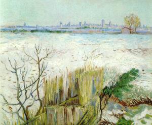 1888-02-25 Paysage sous la neige avec Arles en fond