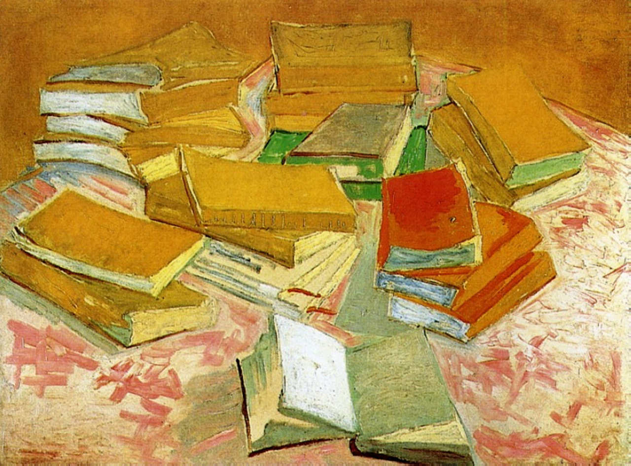Image result for Van gogh   Piles of French Novels (1887, Van Gogh Museum, Amsterdam/Vincent van Gogh Foundation)